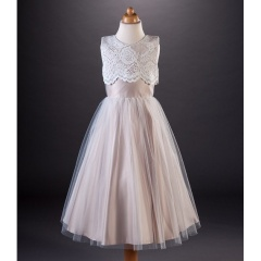 Busy B's Bridals Tanya Scalloped Lace Satin Dress
