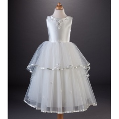Busy B's Bridals 'Thea' Tiered Satin Tulle Dress