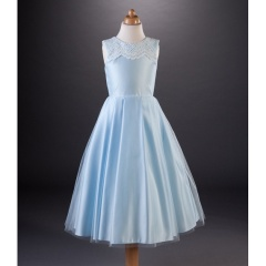 Busy B's Bridals 'Toni' Lace & Satin Box Pleat Dress