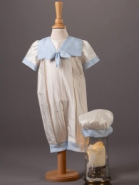 Baby Boys Silk Romper & Hat - Butler by Millie Grace