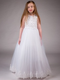 Girls White Diamante & Pearl Lace Tulle Hoop Dress
