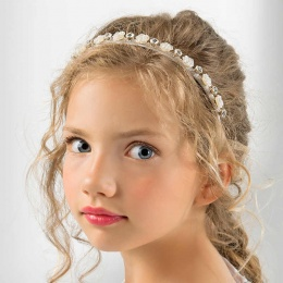 Girls Diamante & Pearl Rose Headband by Lacey Bell Style CA216