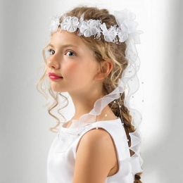 Girls Flower, Beads & Organza Curl Garland by Lacey Bell Style CA274