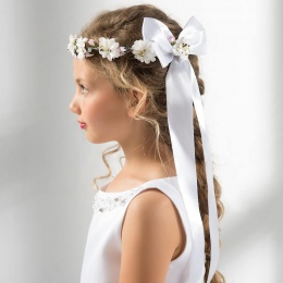 Girls Flower & Satin Bow Garland by Lacey Bell Style CA276