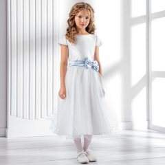 Girls Satin Bow & Sash Dress by Lacey Bell Style CD24