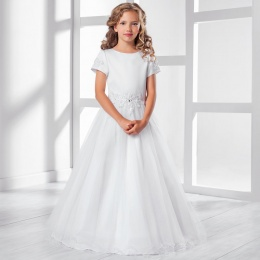 Girls Lace & Tulle Cap Sleeve Dress by Lacey Bell Style CD28