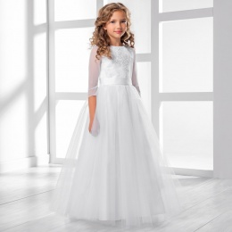 Girls Lace & Tulle 3/4 Sleeve Dress by Lacey Bell Style CD29