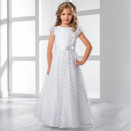 Girls Polka Dot Organza & Satin Dress by Lacey Bell Style CD30
