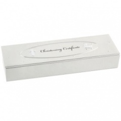 Christening Certificate Holder Box with Silver Cross