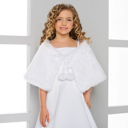 Girls Faux Fur Shoulder Cape by Lacey Bell Style CJ21