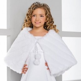 Girls Faux Fur Ribbed Cape by Lacey Bell Style CJ77