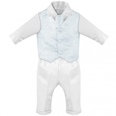 Baby Boys White & Blue Swirl 4 Piece Satin Christening Suit