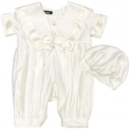 Baby Boys Ivory Sailor Style Christening Romper & Hat