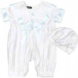 Baby Boys White & Blue Sailor Style Christening Romper & Hat