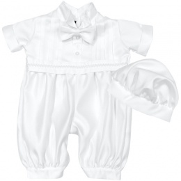 Baby Boys White Braid Tuxedo Style Christening Romper & Hat