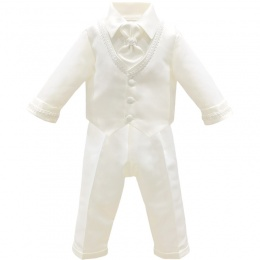 Baby Boys Ivory Braid 4 Piece Satin Christening Suit