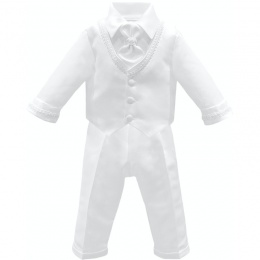 Baby Boys White Braid 4 Piece Satin Christening Suit