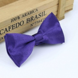 Boys Dark Purple Satin Bow Tie with Adjustable Strap