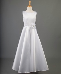 White A-line Satin Communion Dress - Cameo by Millie Grace