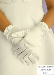 Girls Ivory Rose Trim Communion Gloves - Camilla P152A by Peridot