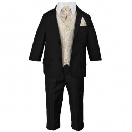 Boys Black & Champagne Swirl 6 Piece Slim Fit Suit
