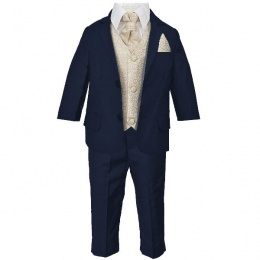 Boys Navy & Champagne Swirl 6 Piece Slim Fit Suit