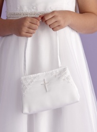 Girls White Pearl Cross Satin Bag - Charlotte P120 by Peridot