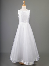 White Brocade & Tulle Communion Dress - Cheryl by Millie Grace