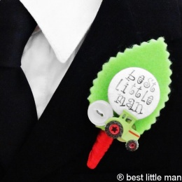 Boys Tractor Best Little Man Lime Green Buttonhole
