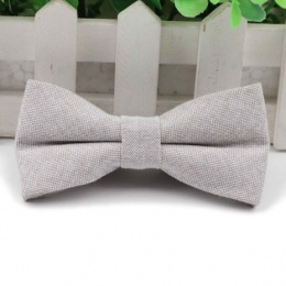 Boys Light Grey Cotton Bow Tie with Adjustable Strap