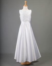 White Sequin Lace Satin Communion Dress - China by Millie Grace