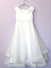 White Bow Organza Communion Dress - Claudia P192 by Peridot