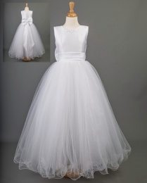 White Satin & Tulle Communion Dress - Cody by Millie Grace