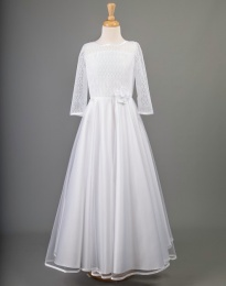 White Lace & Organza Communion Dress - Coleen by Millie Grace