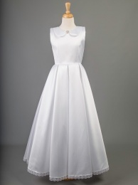 White Mikado Satin Communion Dress - Columbia by Millie Grace
