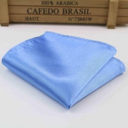 Boys Cornflower Blue Satin Pocket Square Handkerchief