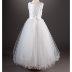 Millie Grace 'Cressida' White Lace & Tulle Communion Dress