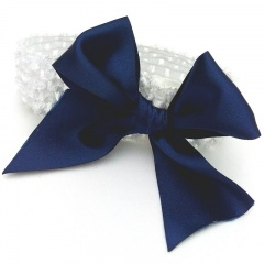 Baby Girls White Crochet Headband with Large Satin Navy Bow