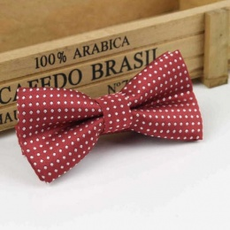 Boys Dark Red Polka Dot Bow Tie with Adjustable Strap