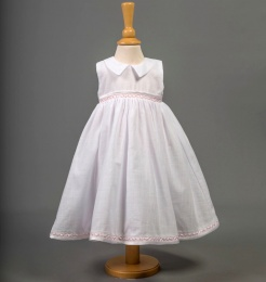 Baby Girls White & Pink Cotton Dress - Davina by Millie Grace