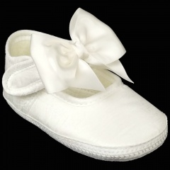 Baby Girls Ivory Dupion Large Bow Pram Shoes 'Early Days'
