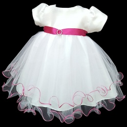 Baby Girls White & Cerise Sash Diamante Tulle Dress