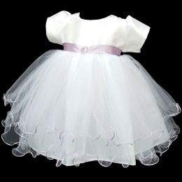 Baby Girls White & Lilac Sash Diamante Tulle Dress