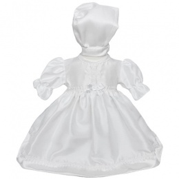 Baby Girls White Dupion Cross Christening Dress & Bonnet