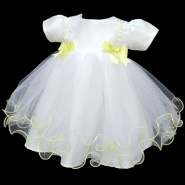 Baby Girls White & Lemon Double Bow Tulle Dress