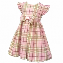 Girls Pink Tartan Check Cap Sleeve Bow Dress