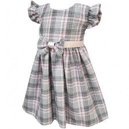 Baby Girls Pink & Grey Tartan Check Dress