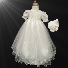 Baby Girls Ivory Floral & Sequin Gown with Bonnet