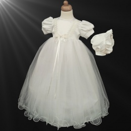 Baby Girls Ivory Lace & Satin Bow Gown with Bonnet