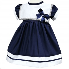 Baby Girls Navy Bow Sailor Style Christening Dress